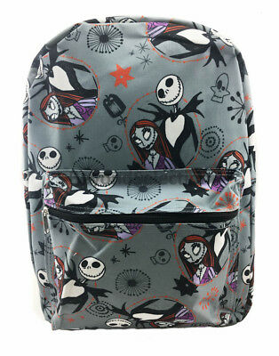 "Nightmare Before Christmas Jack & Sally 16"" Canvas Kids Back to School Backpack"