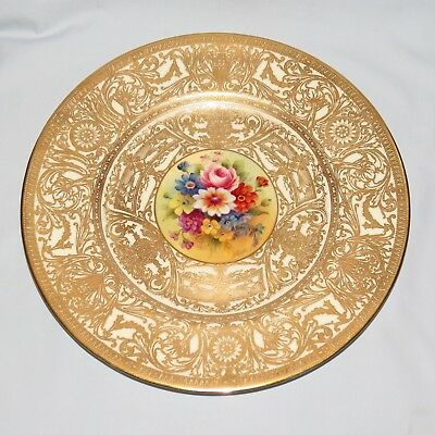 ROYAL WORCESTER HANDPAINTED AND HEAVILY GILT PLATE FLORAL H PRICE c.1941