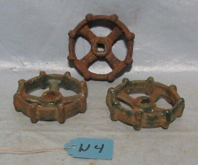 3 Vintage Industrial Machine Age Cast Water Valve Handle Steampunk Altered Art
