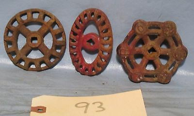 3 Vintage Industrial Machine Age steel  Water Valve Handle Steampunk Altered Art