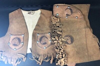 Keyston San Francisco Leather Child's Vest & Chaps Metal Studs Antique Horse  1M