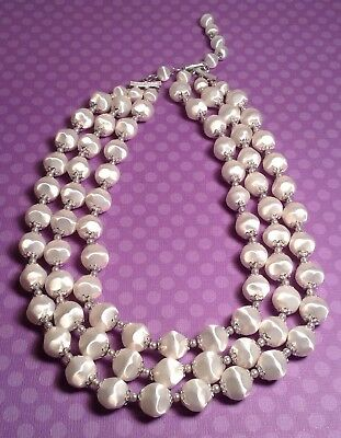 """Retro Vintage Signed Japan 3 Strand White W/silver Beaded Necklace 19 1/2"""" Long"""