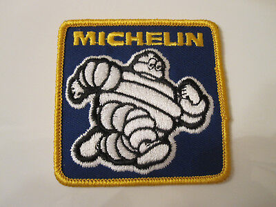 Vintage 80's Michelin Tire Bibendum Dealer Embroidered Cloth Patch Blue & Gold