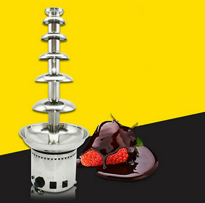 110V 6 Tiers Commercial Chocolate Fountain Fondue Stainless Steel Wedding Party