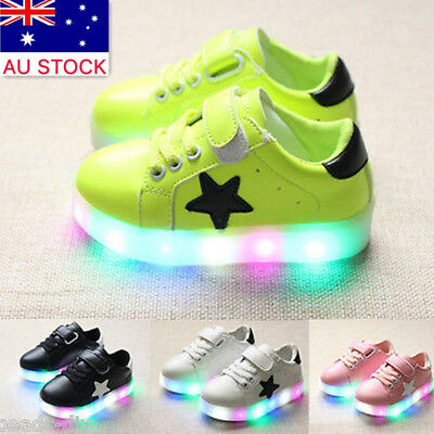 Boys Girls LED Light Lace Up Luminous Sneakers Kids Colorful Casual Shoes AU