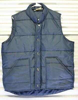 Vtg 1980s Great Lakes Sportswear Blue Puffer Hipster Vest -Made in USA -Large