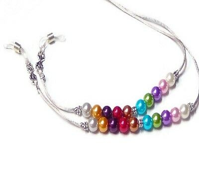 Reading eye glasses spectacle chain lanyard holder Silver Cord rainbow pearl