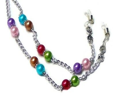 Reading eye glasses spectacle chain lanyard holder Silver Chain rainbow pearl