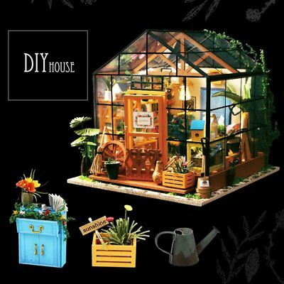 DIY Wooden Flower house Miniature With Furniture Kit Light Christmas Gift W2C6