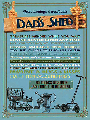 Dads Shed, Retro metal Aluminium Sign/Plaque, Ideal Gift For Dad