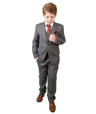 Boys Light Grey Suit 6 Piece All in One  Wedding Prom Regular Kids Page Boy Suit