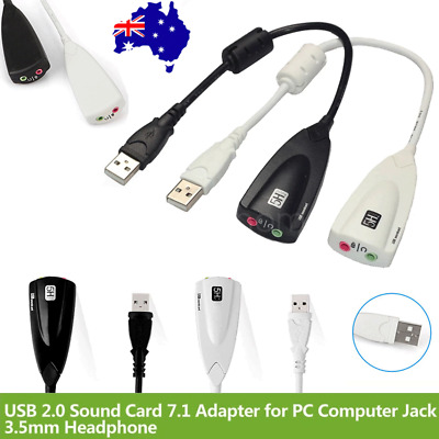 USB 2.0 Audio Sound Card External Adapter Cable Virtual 7.1 CH Mic Headphone