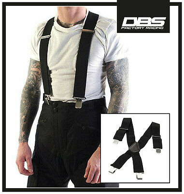 New Black Heavy Duty Elasticated Motorcycle Motorbike Rider Trouser Clip Braces