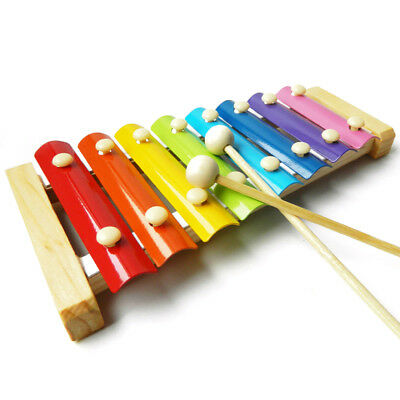 Kids Instrument Toy Xylophone Early Education Wooden 8 Notes Hand Knocks Musical