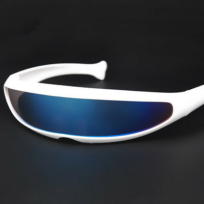 Creative Futuristic Narrow Cyclops Color Mirrored Lens Visor Men Sunglasses