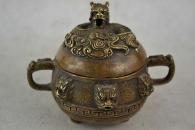 Old Decorated Handwork Copper carved Dragon Incense Burner