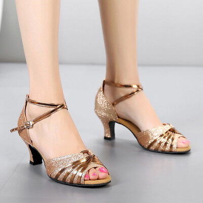 Women Gold Sandals Latin Tango Jazz Dance Shoes Comfort Competition Shoes