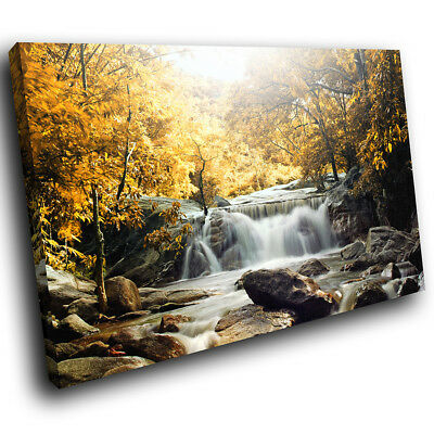 SC438 Yellow Forest Waterfall Cool Nature Canvas Wall Art Large Picture Prints