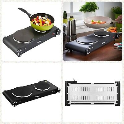 2500W Table Top Double/Twin Hot Plate Cooker Hob Electric Portable Stove Black