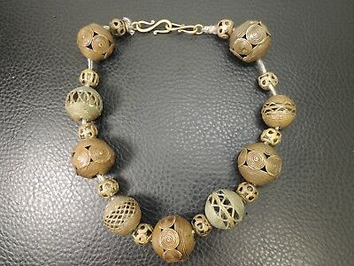 Antique Authentic Hand Made Egyptian Revival bronze Beads Necklace Filigree