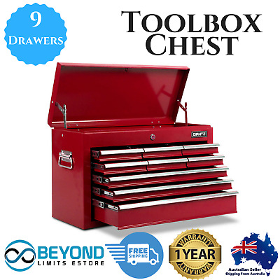 9 Drawers Mechanic Tool Box Cabinet Garage Toolbox Chest Storage Organiser Red