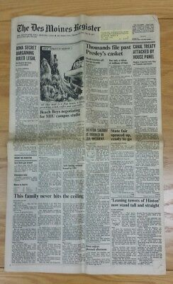 ELVIS PRESLEY Death THE DES MOINES REGISTER Newspaper from August 18, 1977