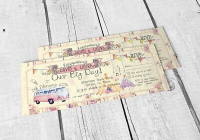 120 Shabby Chic Summer Fete Bunting Camper Van Ticket Wedding Invitations!