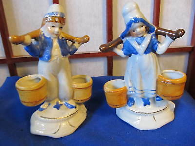 """Occupied Japan Figurines Little Dutch Boy & Girl Carrying Water 4"""" Tall"""