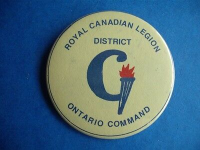Royal Canadian Legion Ontario District Command Collector Vintage Button Pin