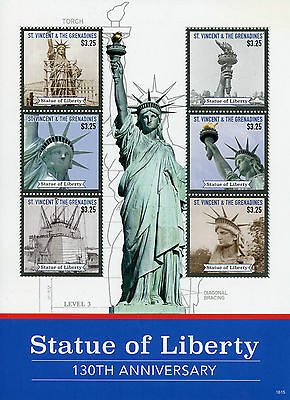 St Vincent & Grenadines 2016 MNH Statue of Liberty 6v M/S II Architecture Stamps