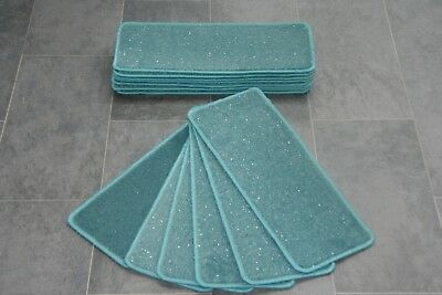 14 Turquoise Glitter Carpet Stair Treads Stain Free Stair Case Sparkle Pads