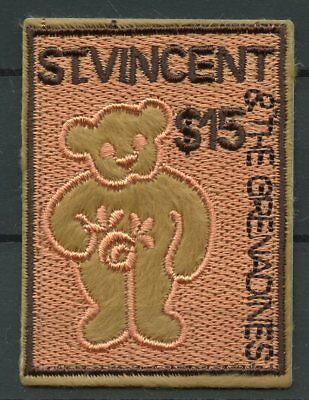 St Vincent & Grenadines 2003 MNH Embroidery Teddy Bears 1v Embroidered Stamps