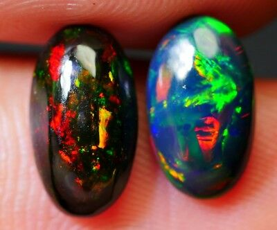 Very Beautiful Natural Black Ethiopian Solid Opal - 2.25 ct - 2 Pieces