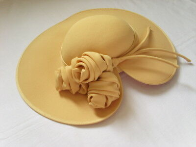 CONDICI CAPELLI Large HAT Mustard Honey Yellow ROSES Wedding Races Wide Brim 22