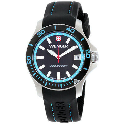 Wenger Sea Force Black Dial Silicone Strap Ladies Watch 01.0621.102