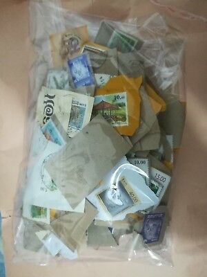 100g bag of used stamps kiloware onpaper lot sri lanka