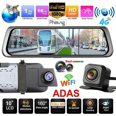 """10"""" Dual Lens IPS Android BT WiFi 4G Car Rearview Mirror DVR Camera WDR Dash Cam"""