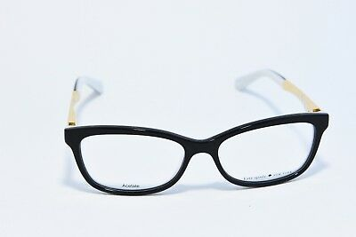 Kate Spade Angelisa S0T Acetate Eyeglass Frames Black White Gold 51-15-135 New