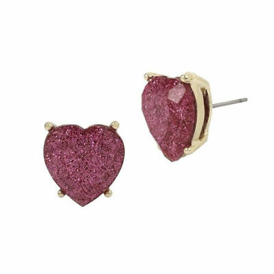 Betsey Johnson Not Your Babe Purple Holographic Glitter Lucite Heart Earrings