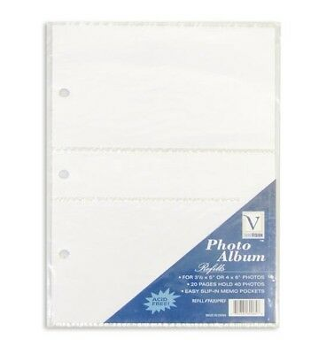*20 PACK* Innovision 4 x 6'' or 3 1/2 x 5'' Photo Album (2 Per Page) Refills