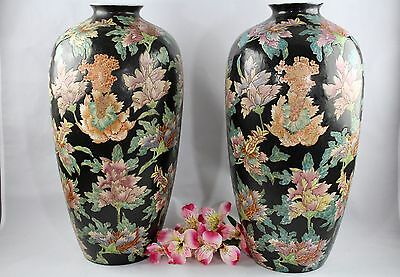"""Antique Chinese Qing Dynasty Famille Rose Black Noire Vases 17 1/2"""" Tall"""