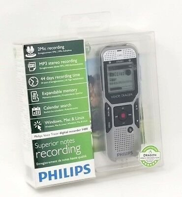 Philips DVT1400 Voice Tracer Digital Recorder with 2 Mic Stereo Recording SILVER