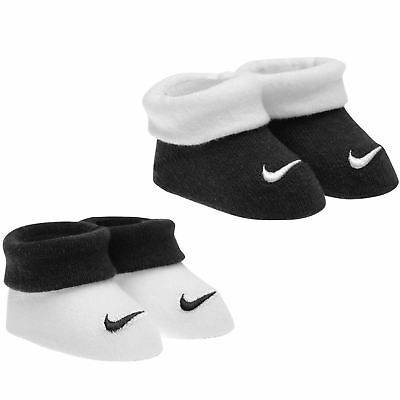 Nike Babies Booties 2 Pairs Infants Baby Boys Newborn 0 to 6 Months Black White