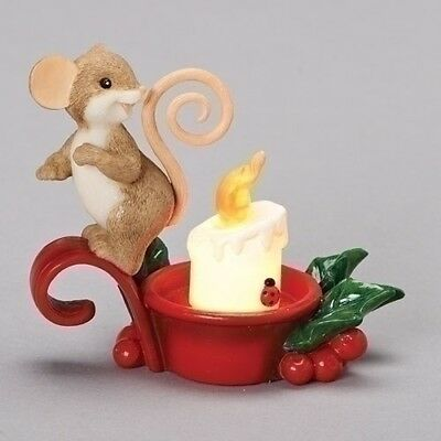 Charming Tails Christmas Mouse with LED Light Up Tealight Candle New 2018 131636