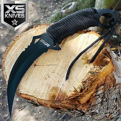 "10"" M-TECH Tactical Combat Neck FIXED BLADE KNIFE Survival Karambit CLAW BLACK"