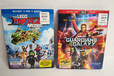GUARDIANS OF THE GALAXY VOL.2 & THE LEGO MOVIE Blu-ray+DVD+Digital 2 PACK SET
