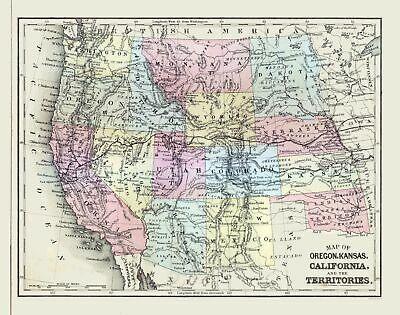 Old State Map - Western United States - Mitchell 1877 - 29.21 x 23