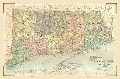 Old State Map - Connecticut, Rhode Island - US - Monteith 1882 - 34.98 x 23
