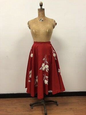 VTG 1950s Red Full Circle Skirt with Hand Embroidered RAFFIA Flowers, FUN!