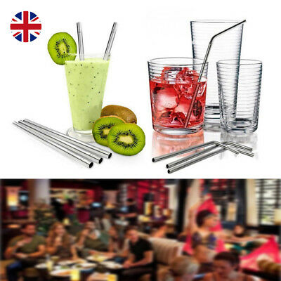 10X Metal Stainless Steel Drinks Straw Reusable For All Parties & Straw Cleane